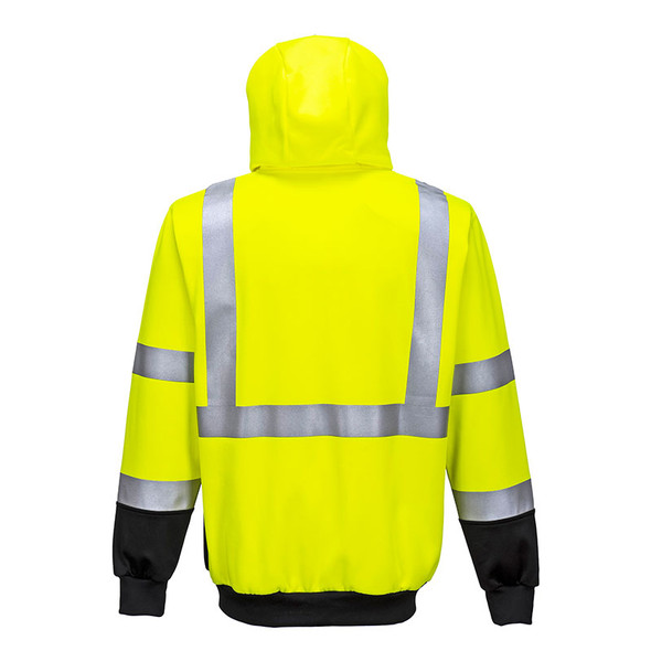 PortWest Class 3 Hi Vis Yellow with Black Bottom Hoody UB315 Back