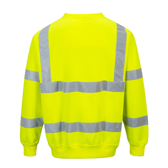 PortWest Class 3 Hi Vis Yellow Crew Neck Sweatshirt B303 Back