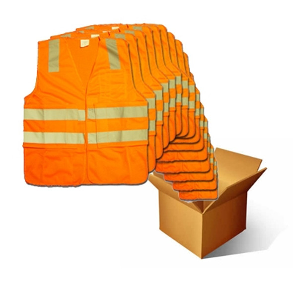 Macro Industries Case of 48 Class 2 Hi Vis Orange Break Away Mesh Safety Vest SV8000