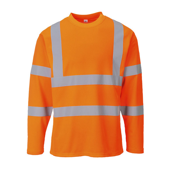 PortWest Class 3 Hi Vis Cotton Comfort Long Sleeve T-Shirt S278 Orange