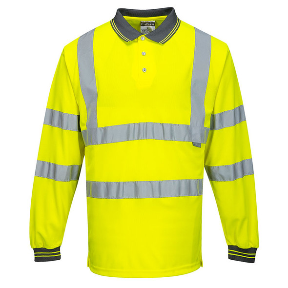 PortWest Class 3 Hi Vis Long Sleeve Polo S277 Yellow Front