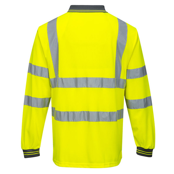 PortWest Class 3 Hi Vis Long Sleeve Polo S277 Yellow Back