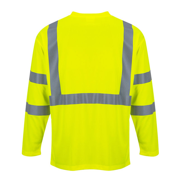 PortWest Class 3 Hi Vis Long Sleeve T-Shirt with Pocket S191 Yellow Back
