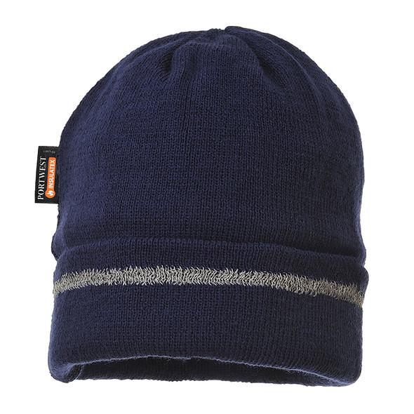 PortWest Reflective Trim Visibility Insulatex Lined Knit Hat B023 Navy