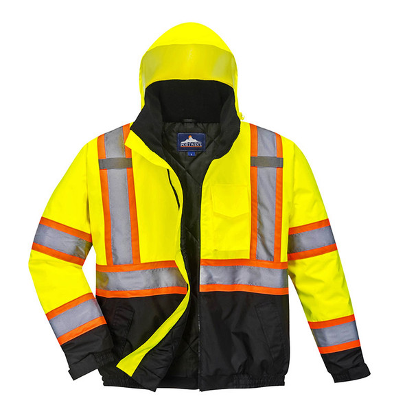 PortWest Class 3 Hi Vis 2-in-1 Two-Tone Black Bottom Bomber Jacket US367 Unzipped
