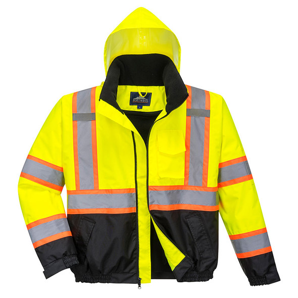 PortWest Class 3 Hi Vis 2-in-1 Two-Tone Black Bottom Bomber Jacket US367 with Hood