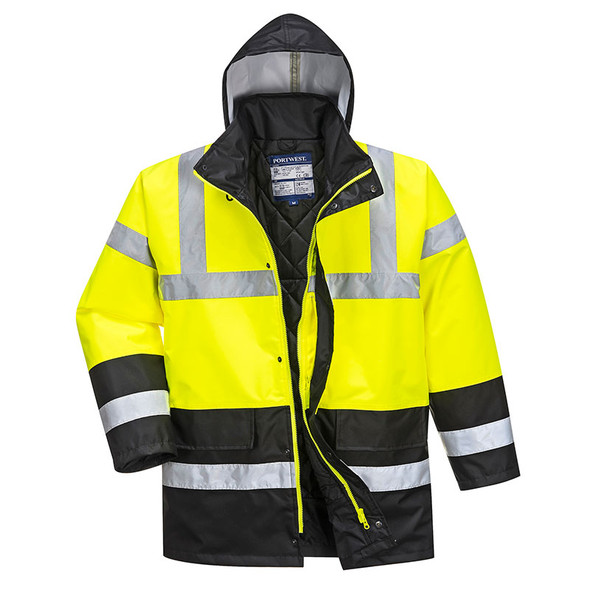 PortWest Class 3 Hi Vis Traffic Jacket US466 with Hood