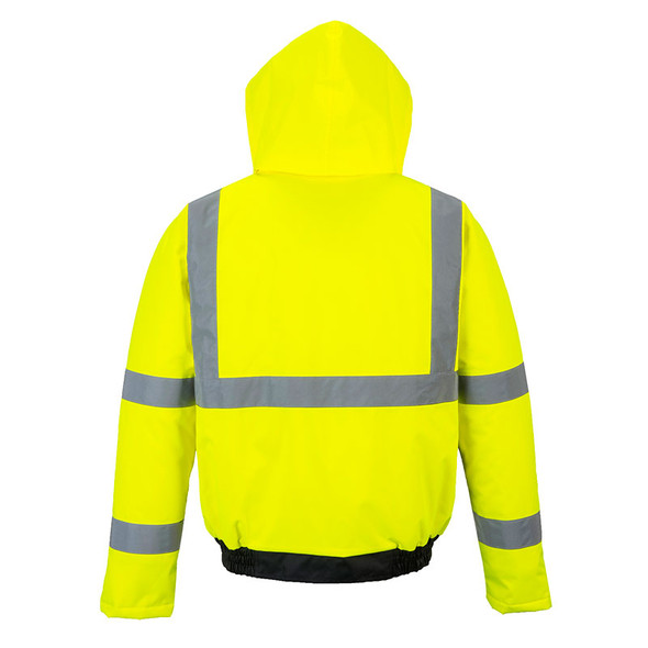 PortWest Class 3 Hi Vis Black Bottom Bomber Jacket US363 Back
