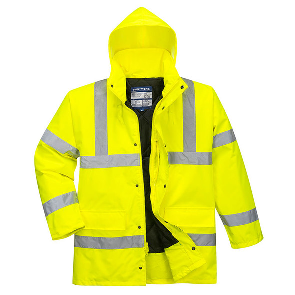 PortWest Class 3 Hi Vis Yellow Traffic Jacket US460 with Hood