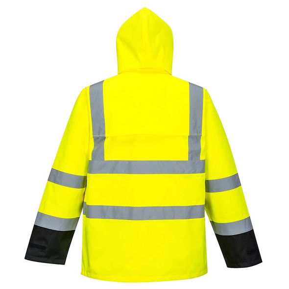 PortWest Class 3 Hi Vis Yellow Black Bottom Rain Jacket US366 Back
