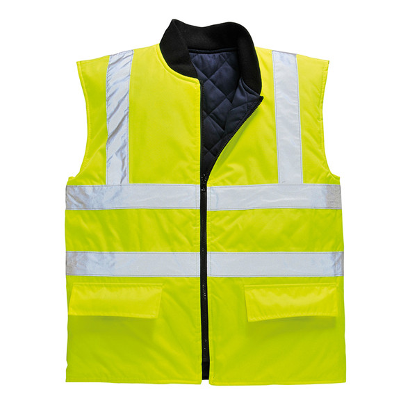 PortWest Class 2 Hi Vis Reversible Bodywarmer Vest US469 Yellow Front Unzipped