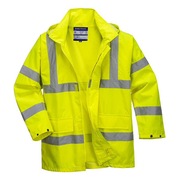 PortWest Class 3 Hi Vis Lite Traffic Jacket US160 Front Unzipped