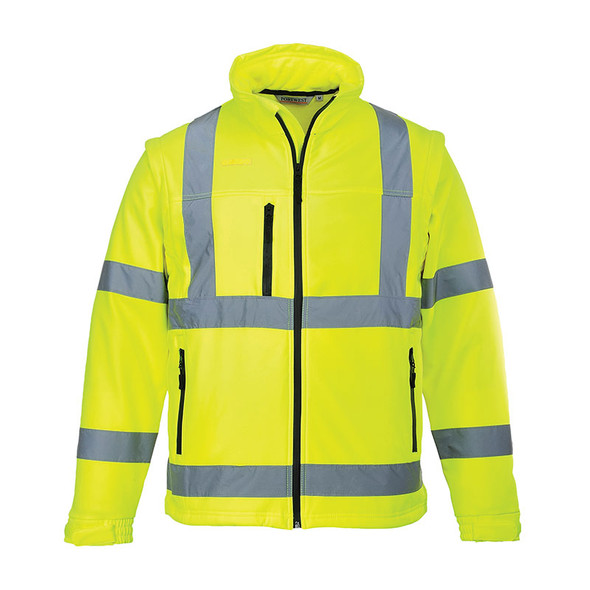 PortWest Class 3 Hi Vis 2-in-1 Softshell Jacket US428 Yellow Front