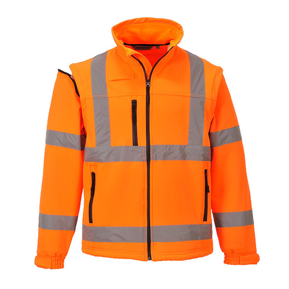 PortWest Class 3 Hi Vis 2-in-1 Softshell Jacket US428 Orange Front
