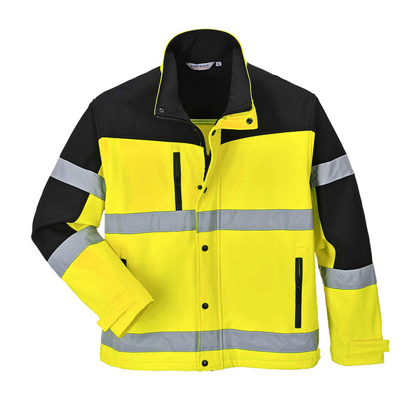 PortWest Class 3 Hi Vis SoftShell Jacket US429 Open