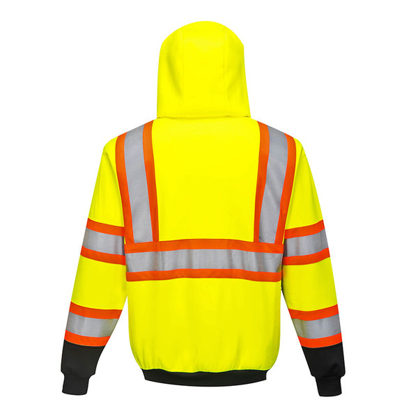 PortWest Class 2 Hi Vis Kansas Zipped Hoodie UB316YBRSM Back