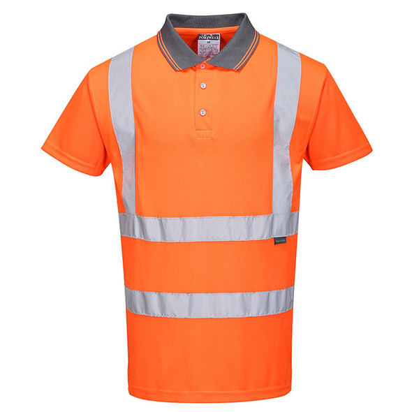 PortWest Class 2 Hi Vis Orange Moisture Wicking Short Sleeve Polo RT22 Front