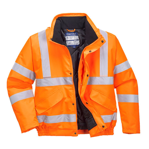 PortWest Class 3 Hi Vis Orange Bomber Jacket URT32 Front