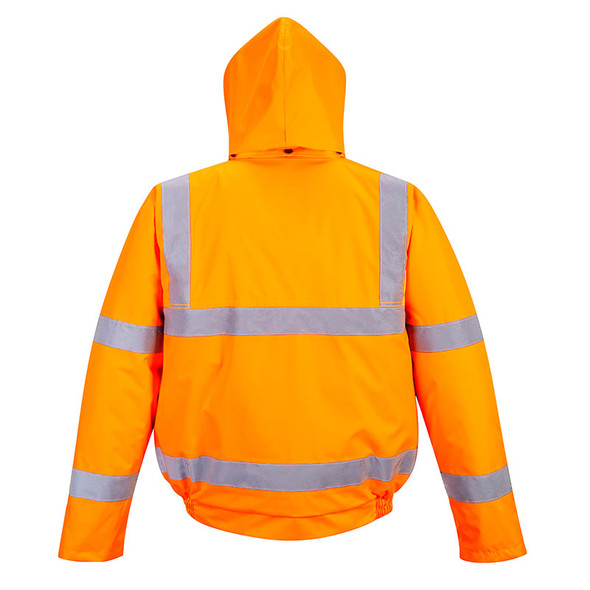 PortWest Class 3 Hi Vis Orange Bomber Jacket URT32 Back