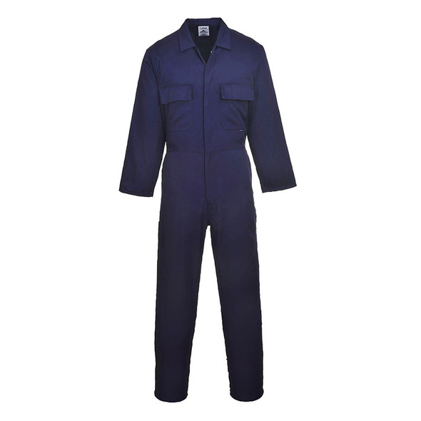 PortWest Polycotton Navy Unlined Coverall S999NA Front