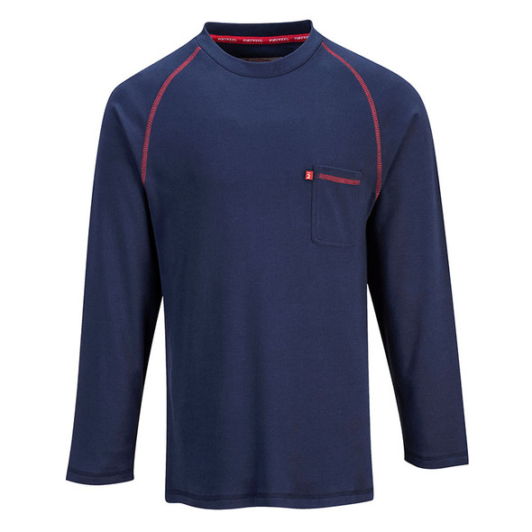 PortWest FR Moisture Wicking Bizflame Crew Neck FR01 Navy Front