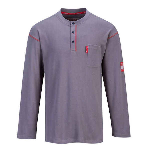 PortWest Flame Resistant Clothing - Moisture Wicking Bizflame Henley FR02 Grey Front