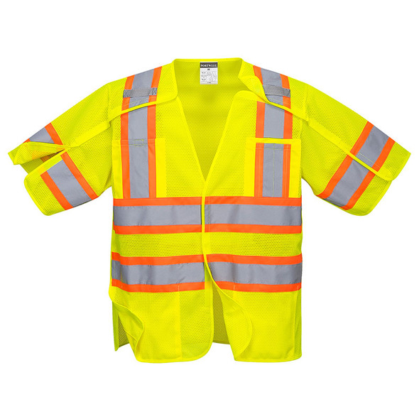 PortWest Class 3 Hi Vis Yellow Kobuk 5-Point Breakaway Vest US382 Front