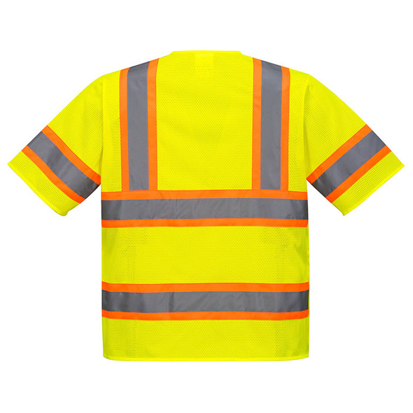 PortWest Class 3 Hi Vis Yellow Kobuk 5-Point Breakaway Vest US382 Back
