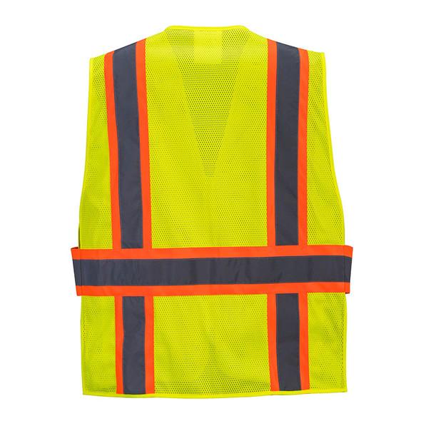 PortWest Class 2 Hi Vis Yellow Expandable Mesh 4-Point Breakaway Vest US385 Back