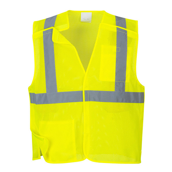 PortWest Class 2 Hi Vis Yellow Economy Mesh Break-Away Vest US384 Front