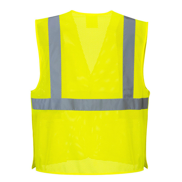 PortWest Class 2 Hi Vis Yellow Economy Mesh Break-Away Vest US384 Back