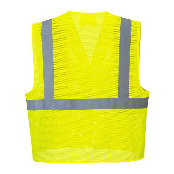 PortWest Class 2 Hi Vis Yellow Economy Mesh Vest UC492 Back
