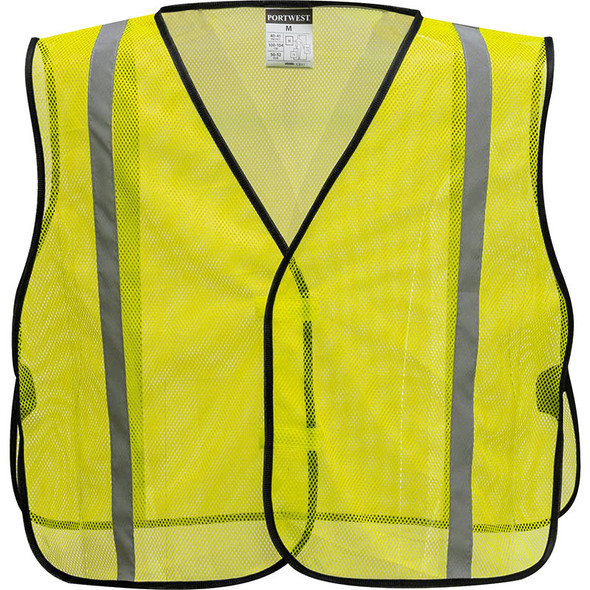 PortWest Non ANSI Yellow Mesh Vest US390 Front