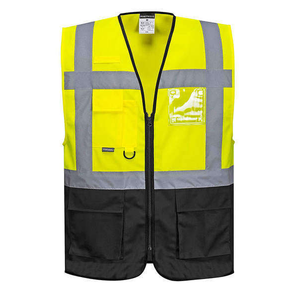 PortWest Class 1 Enhanced Visibility Warsaw Vest UC476 Front