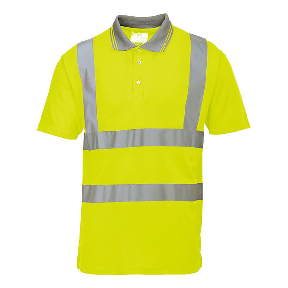 PortWest Class 2 Hi Vis Yellow Short Sleeve Polo S477