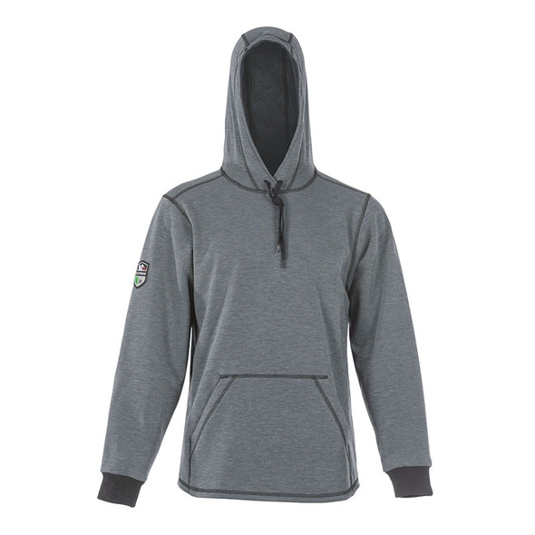 DragonWear FR Elements Cyclone Pull-Over Grey Made in USA Hoodie DFMC143 Front Hood