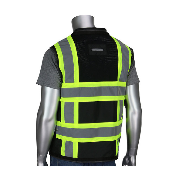 PIP Class 1 Enhanced Visibility Two-Tone Black 11 Pocket Surveyors Vest 302-0800D-BK