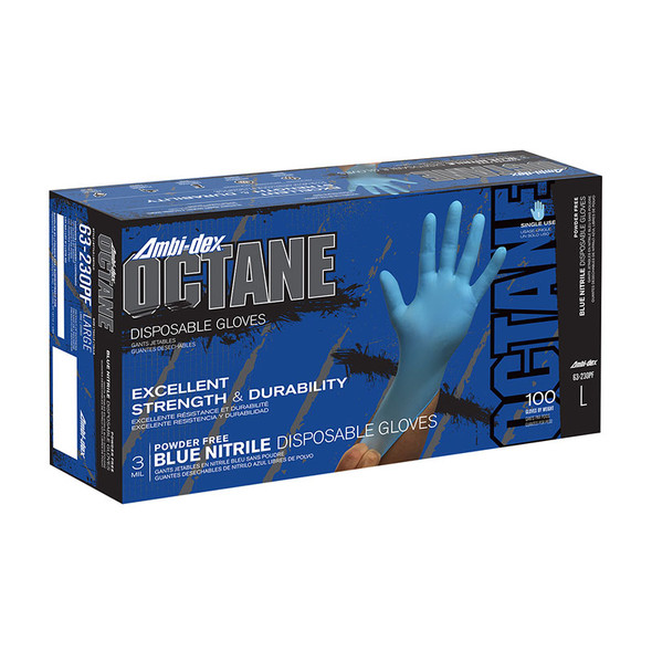 PIP Case of 1000 Ambi-dex 3 Mil Octane Disposable Nitrile Powder Free Blue Gloves 63-230PF Box