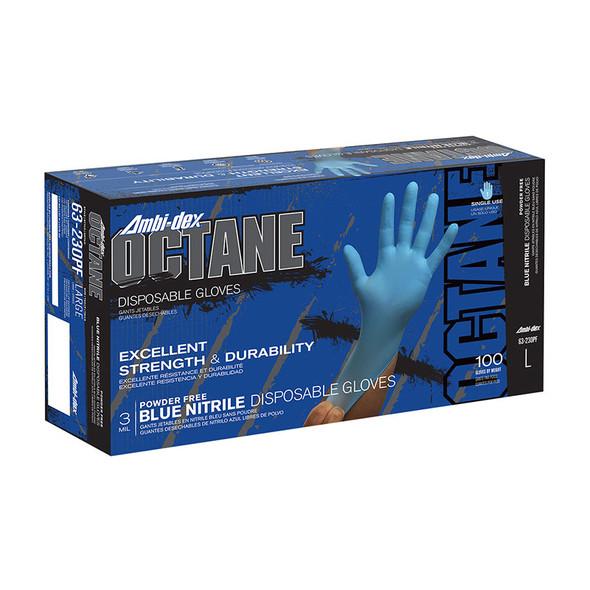 PIP Case of 1000 Ambi-dex 3 Mil Octane Disposable Nitrile Powder Free Blue Gloves 63-230PF Box