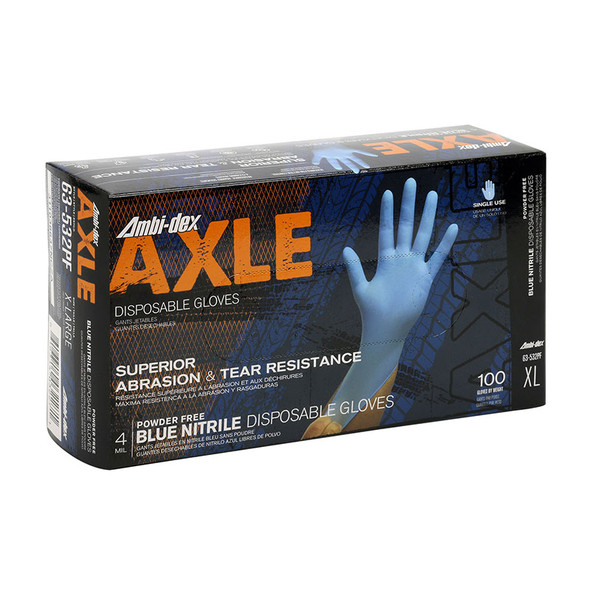 PIP Case of 1000 Ambi-dex 4 Mil Axle Disposable Nitrile Powder Free Blue Gloves 63-532PF Box