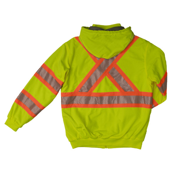 Work King Safety Class 3 X-Back Hi Vis Segmented Green Thermal Lined Hoodie SJ16FLGR Back