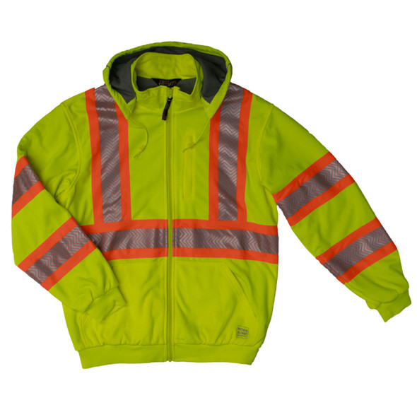 Work King Safety Class 3 X-Back Hi Vis Segmented Green Thermal Lined Hoodie SJ16FLGR Front