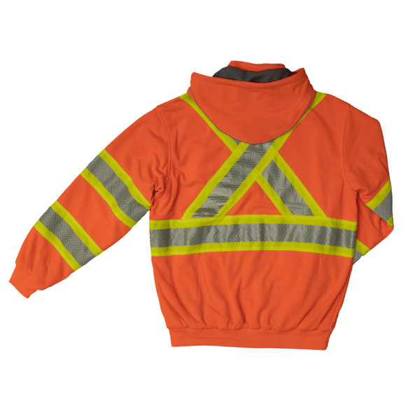 Work King Safety Class 3 X-Back Hi Vis Segment Orange Thermal Lined Hoodie SJ16FLOR Back