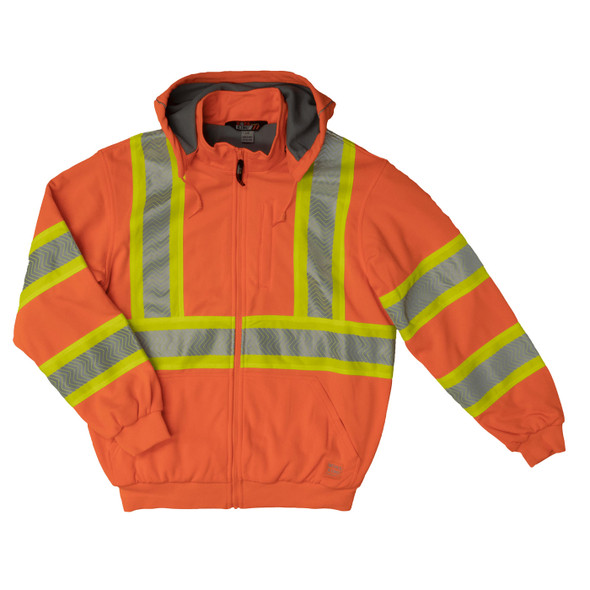 Work King Safety Class 3 X-Back Hi Vis Segment Orange Thermal Lined Hoodie SJ16FLOR Front