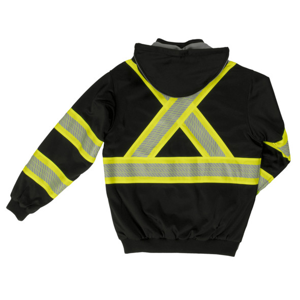 Work King Safety Class 1 X-Back Enhanced Visibility Black Thermal Lined Hoodie SJ16-BLK Back