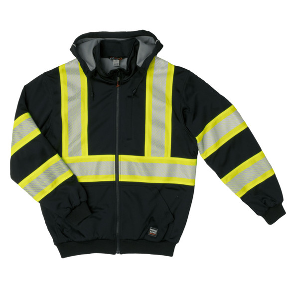 Work King Safety Class 1 X-Back Enhanced Visibility Black Thermal Lined Hoodie SJ16-BLK Front