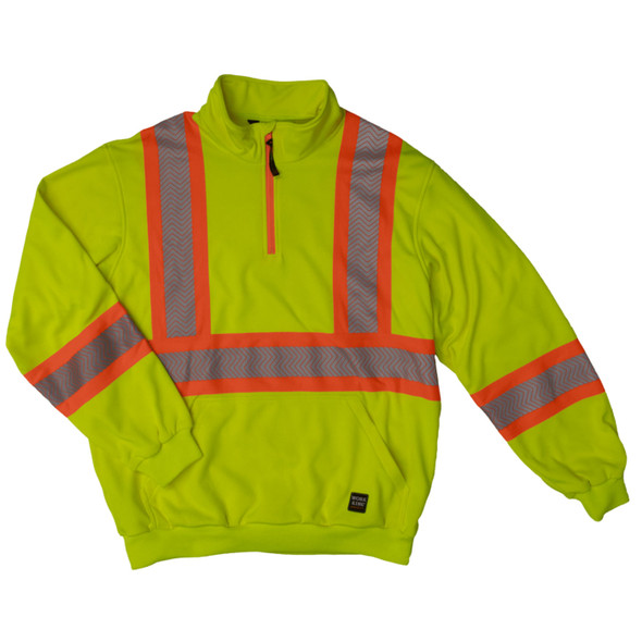 Work King Safety Class 3 X-Back Hi Vis Segmented Green Pullover with Zip SJ19FLGR Front