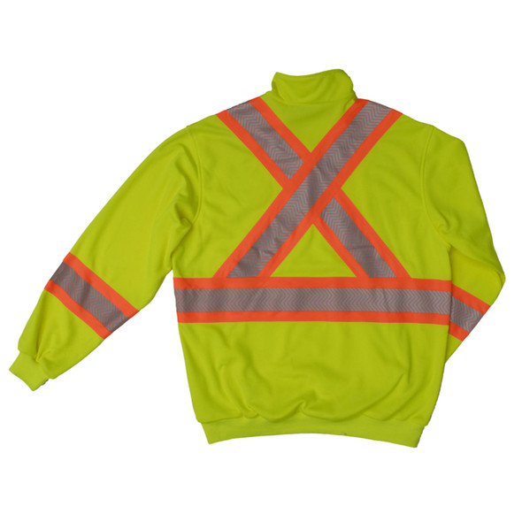 Work King Safety Class 3 X-Back Hi Vis Segmented Green Pullover with Zip SJ19FLGR Back