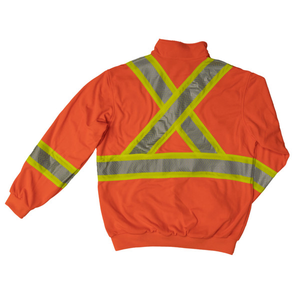 Work King Safety Class 3 X-Back Hi Vis Segmented Orange Pullover with Zip SJ19FLOR Back