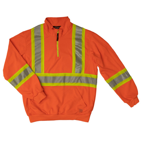 Work King Safety Class 3 X-Back Hi Vis Segmented Orange Pullover with Zip SJ19FLOR Front